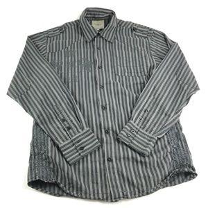 ROAR Mens Button Down Long Sleeve Stripped Shirt